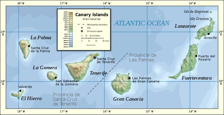 Kanarian saarten kartta