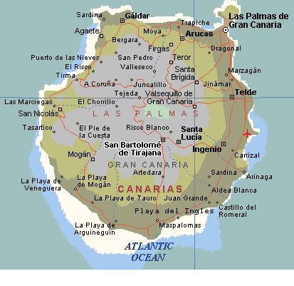 Kartta: Gran Canaria ja Las Palmas